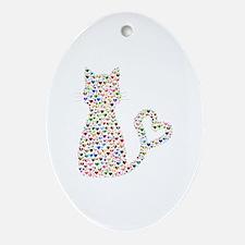 Pattern Cat Oval Ornament