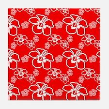 Red Hibiscus Hawaiian Pattern Tile Coaster