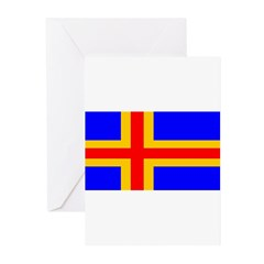 Aland Islands Blank Flag Greeting Cards (Pk of 10)