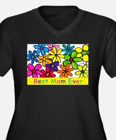 Best ever mom colorful flower Plus Size T-Shirt