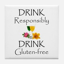Drink Responsibly Gluten-Free Flowers Tile Coaster