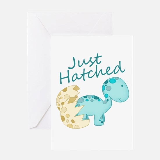 Just Hatched Blue Baby Dinosaur Greeting Cards