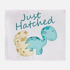 Just Hatched Blue Baby Dinosaur Throw Blanket