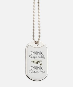 Drink Responsibly Drink Gluten-Free Flask Dog Tags
