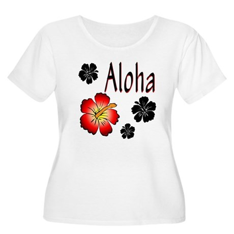 Hibiskus Aloha Women's Plus Size Scoop Neck T-Shir