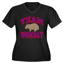 Team Wombat VI Women's Plus Size V-Neck Dark Tee