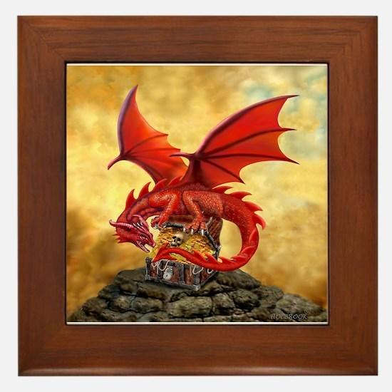 Red Dragon's Treasure Chest Framed Tile