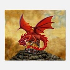 Red Dragon's Treasure Chest Throw Blanket