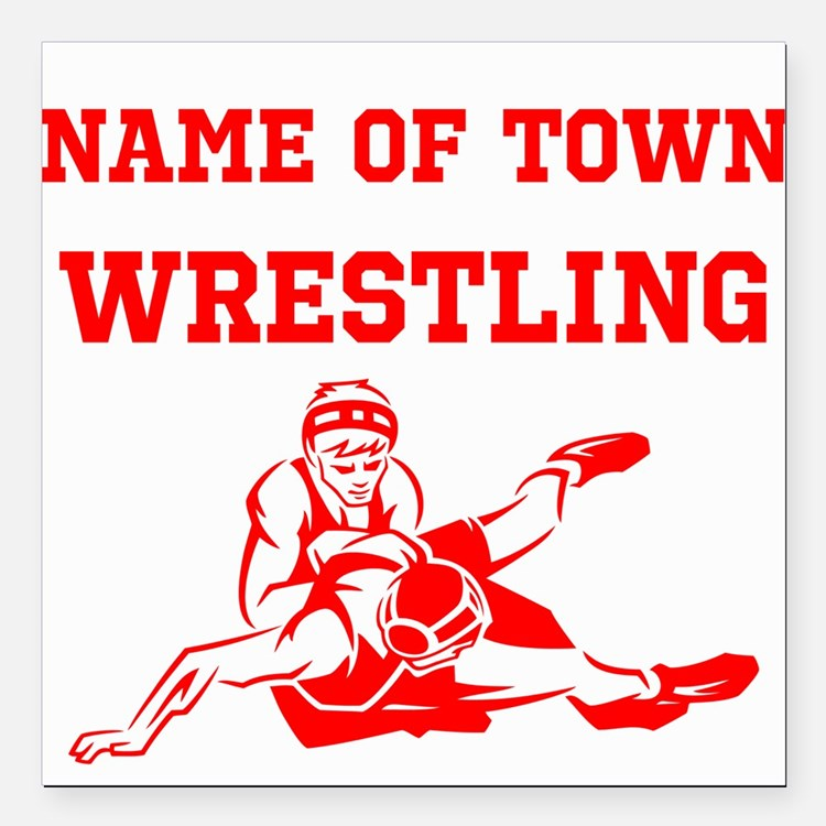 "Wrestling Square Car Magnet 3"" x 3"""