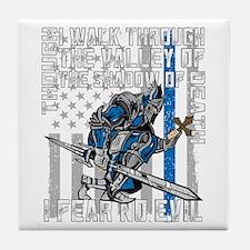 I Fear No Evil Police Crusader Tile Coaster