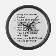 Rules Of Gun Safety Large Wall Clock