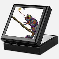 Beaded Chameleon on Branch Keepsake Box