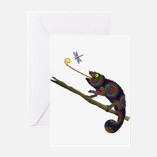 Beaded Chameleon on Branch Greeting Cards