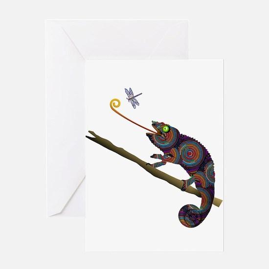 Beaded Chameleon on Branch Greeting Cards