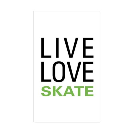 Live Love Skate Rectangle Sticker