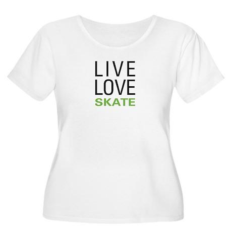 Live Love Skate Women's Plus Size Scoop Neck T-Shi