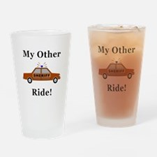 Sheriff My Other Ride Drinking Glass