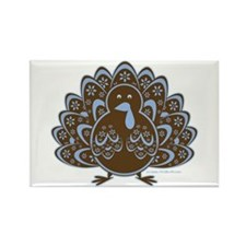 Vintage Turkey Blue/Brown Rectangle Magnet