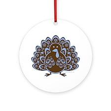 Vintage Turkey Blue/Brown Ornament (Round)
