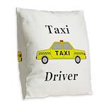 Taxi Driver Burlap Throw Pillow