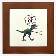 T-Rex Loves Occupational Therapy Framed Tile