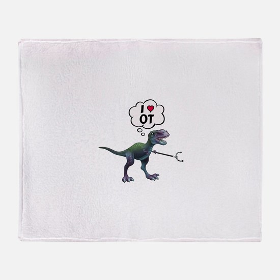 T-Rex Loves Occupational Therapy Throw Blanket