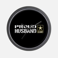 U.S. Army: Proud Husband (Black) Wall Clock
