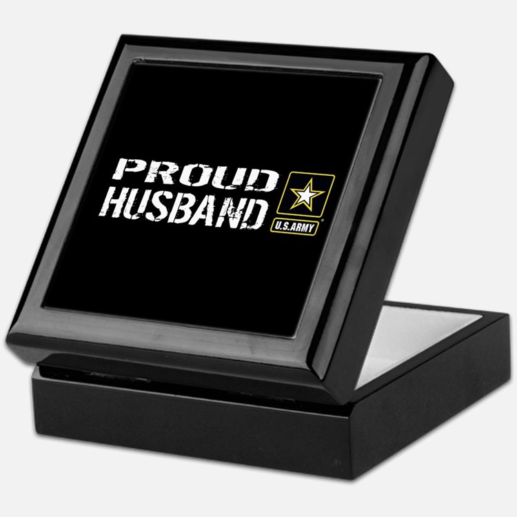 U.S. Army: Proud Husband (Black) Keepsake Box