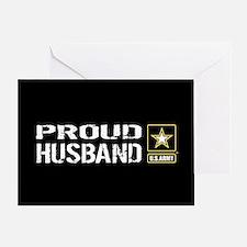 U.S. Army: Proud Husband (Black) Greeting Card
