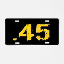 .45 Ammo: Black & Gold Aluminum License Plate