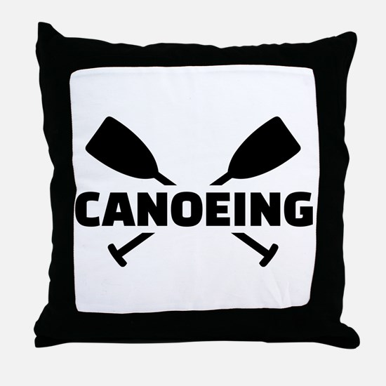 Canoeing crossed paddles Throw Pillow