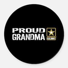 U.S. Army: Proud Grandma (Black) Round Car Magnet