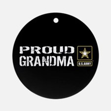 U.S. Army: Proud Grandma (Black) Round Ornament