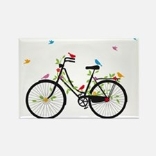 Old vintage bicycle with flowers and birds Magnets