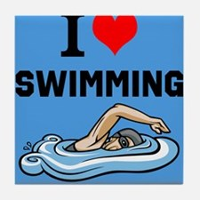 I Love Swimming Tile Coaster