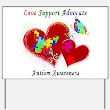 Autism Butterflies in Hearts Yard Sign
