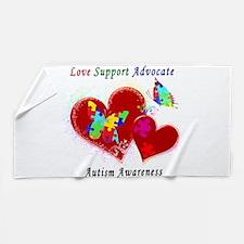Autism Butterflies in Hearts Beach Towel