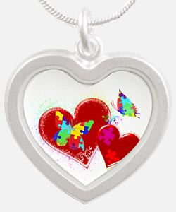 Autism Butterflies in Hearts Silver Heart Necklace