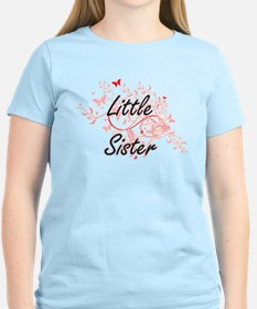Little Sister Artistic Design with Butterf T-Shirt