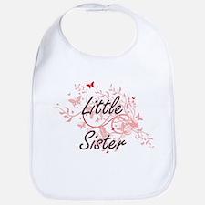 Little Sister Artistic Design with Butterflies Bib