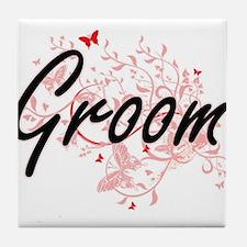 Groom Artistic Design with Butterflie Tile Coaster