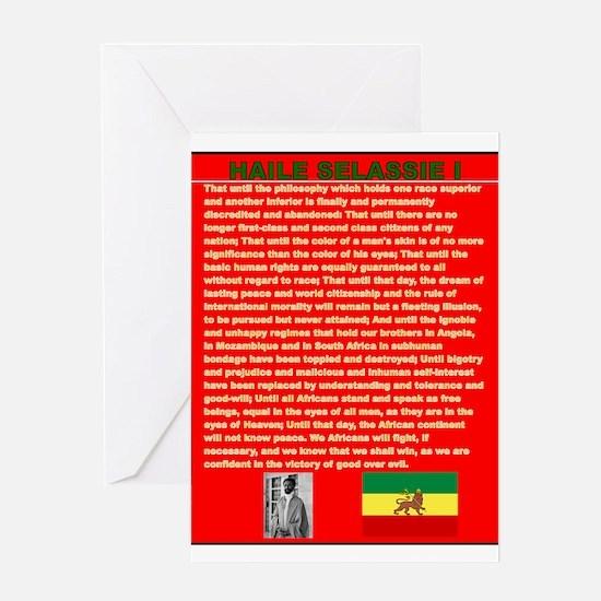 Selassie Speech to U N 1963 War Spe Greeting Cards