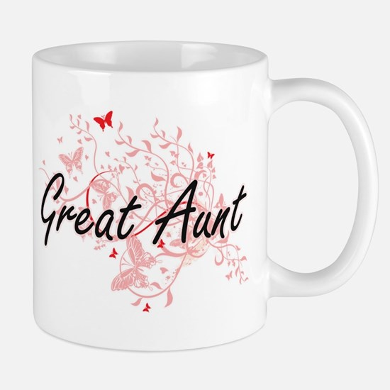 Great Aunt Artistic Design with Butterflies Mugs