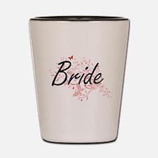 Bride Artistic Design with Butterflies Shot Glass