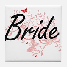 Bride Artistic Design with Butterflie Tile Coaster