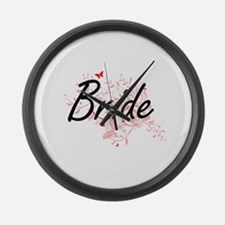 Bride Artistic Design with Butter Large Wall Clock