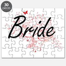 Bride Artistic Design with Butterflies Puzzle