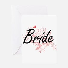 Bride Artistic Design with Butterfl Greeting Cards