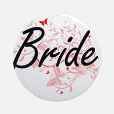 Bride Artistic Design with Butterfl Round Ornament
