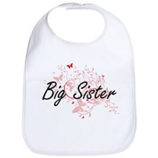 Big Sister Artistic Design with Butterflies Bib
